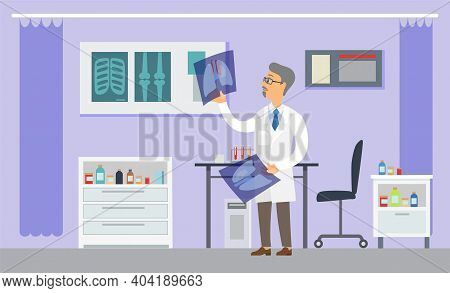 Professional Radiologist Male Character In Hospital Office. Cancer Disease Diagnostic And Treatment.