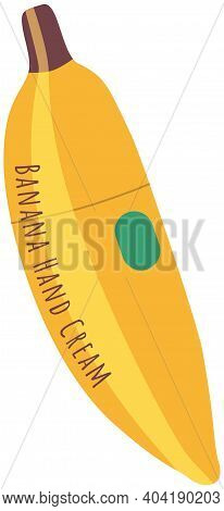 Hand Cream Natural Series Bottle Isolated On White Background. Cosmetic Product, Banana-shaped Yello