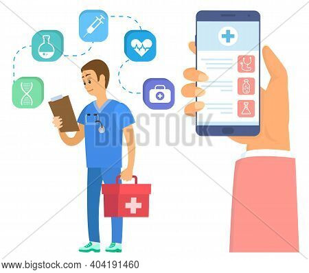 Medical Application On Smartphone Screen. Medic Holding Document And First Aid Kit. Emergency Doctor