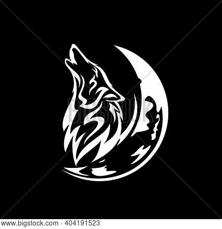 Howling Wolf Profile Head And Crescent Moon White Vector Outline Against Black Background