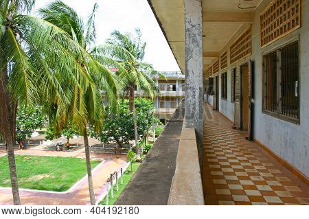 Phnom Penh, Cambodia - July 16 2006: Row Of Prison Cells In The Former Secondary School Which Was Us