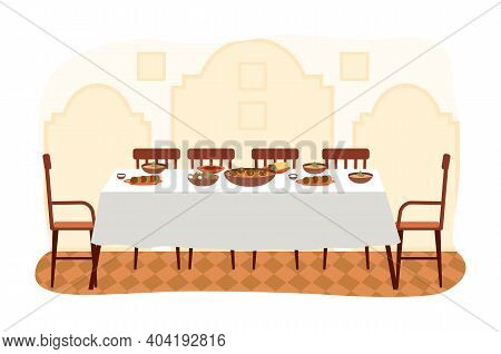 The Dining Room In Arabic Style Flat Vector Illustration. Dining Table With Falafel And Hummus. Furn