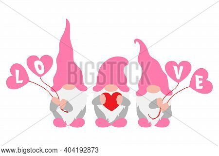 Valentines Day Gnomes With Hearts In Hands, Scandinavian Gnomes, Vector Illustration For Love, Engag
