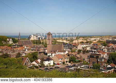 North Sea In The Background Of Wijk Aan Zee Town In The Netherlands