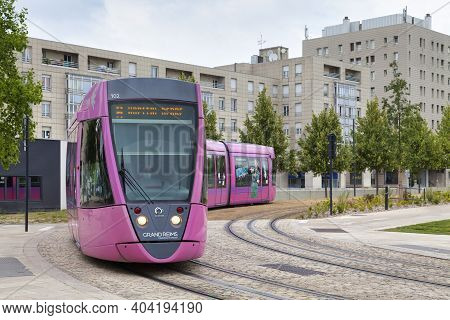 Reims, France - June 09 2020: The Network Of The Reims Tramway Is Linking The Reims District Of Orge
