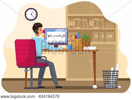 Job Search Candidate Concept. Character Young Man Using Computer Searching For Job In Internet. Recr