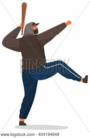 An Aggressive Man With A Baseball Bat Isolated On White Background. Problems Of Urban Security. Crim