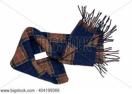 Scarf Isolated. Closeup Of A Warm Checkered Or Plaid Scarf With Fringe Isolated On A White Backgroun