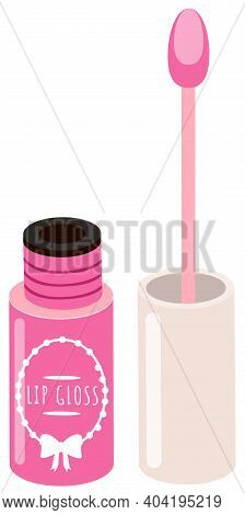 Opened Pink Lip Gloss Tube With A Sponge Brush. Lip Cream Plastic Opaque Bottle Of Rose Color With A