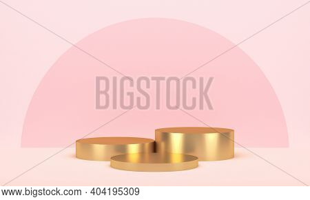 Three Golden Round Displays For Product On Pink Background. 3d Rendering