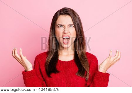 Portrait Photo Of Aggressive Outraged Young Girl Wearing Red Outfit Gesturing With Both Hands Grinni