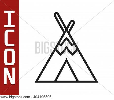 Black Line Traditional Indian Teepee Or Wigwam Icon Isolated On White Background. Indian Tent. Vecto