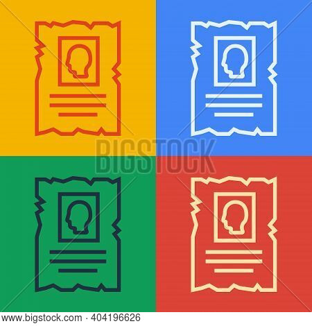 Pop Art Line Wanted Western Poster Icon Isolated On Color Background. Reward Money. Dead Or Alive Cr