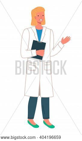 Woman Doctor Holding A Clip Board Isolated On White. Female Character Wearing Medical Coat Goes To M