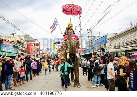 Srisatchanalai District, Sukhothai, Thailand - April 7, 2018 : Sukhothai Ordination Parade On Elepha
