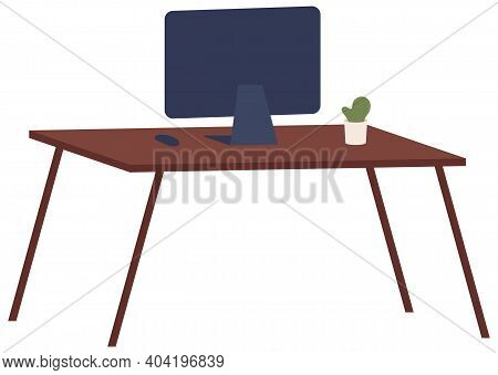 Monitor Without Wires On The Table Isolated On White Background. Vector Illustration Black Monitor L