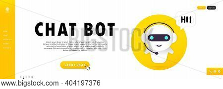 Chat Bot Banner. Online Assistant Bot Landing Page Template. Technical Support. For Web Page.