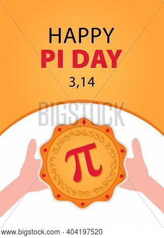 Happy Pi Day. Celebrate Pi Day. Baked Pie With Pi Symbol. March 14.