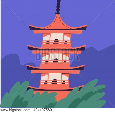 Japanese Pagoda Building. Asian Traditional Architecture. Buddhist Multistory Temple. Religious Tier