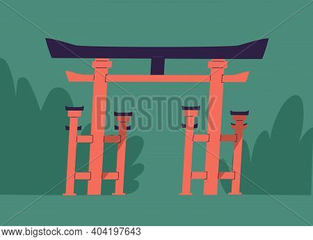 Traditional Japanese Symbolic Gates With Roof And Columns Called Tori Or Torii. Japan Ritual Religio