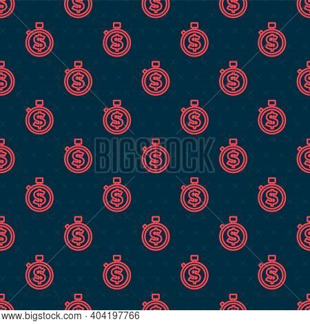 Red Line Time Is Money Icon Isolated Seamless Pattern On Black Background. Money Is Time. Effective