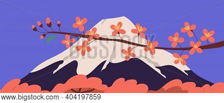 Scenic View Of Holy Fuji Mountain And Sakura Branch With Pink Blossomed Flowers During Hanami Holida