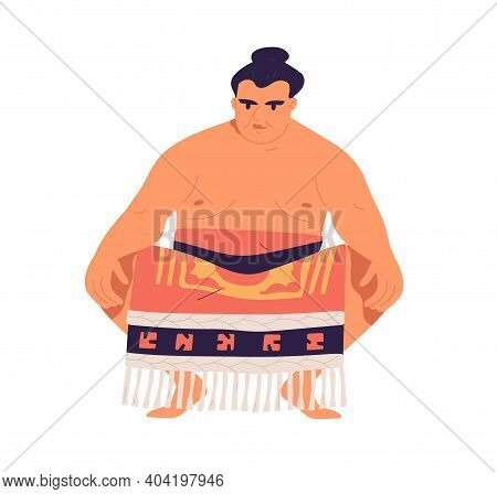 Japanese Sumo Wrestler In Low Squat Stance. Japan Sport. Asian Fighter With Hair Bun Wearing Loinclo
