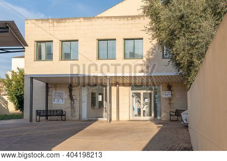 Campos, Spain; January 20 2021: Main Entrance Of The Hospital In The Majorcan Town Of Campos On A Su