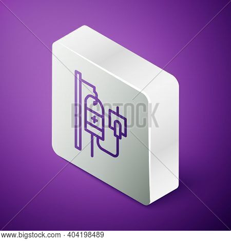 Isometric Line Iv Bag Icon Isolated On Purple Background. Blood Bag. Donate Blood Concept. The Conce