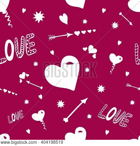 Hand Drawn Doodle Seamless Pattern Of Love. Abstract Seamless Love Pattern. Valentines Day Wrapping