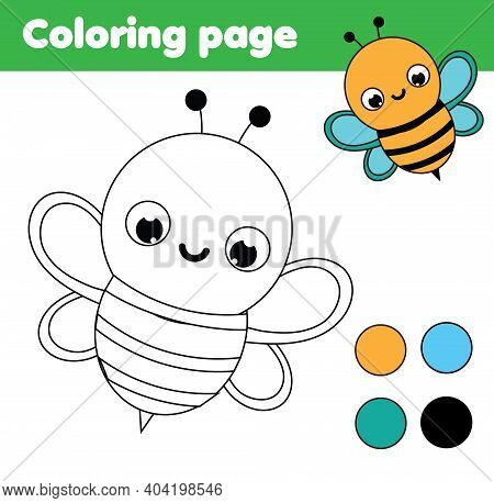 Coloring Page With Cartoon Bee. Drawing Kids Activity. Printable Fun For Toddlers And Children