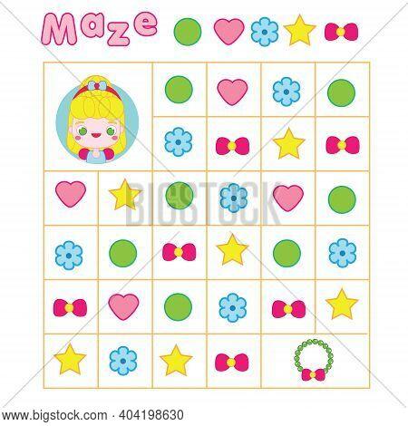 Maze Game. Labyrinth With Navigation. Help Princess Find Necklace
