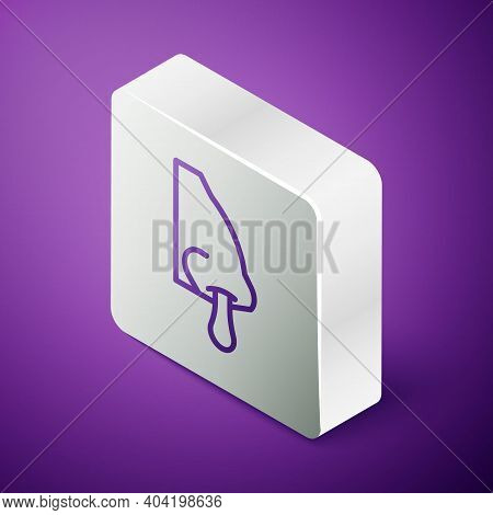 Isometric Line Runny Nose Icon Isolated On Purple Background. Rhinitis Symptoms, Treatment. Nose And