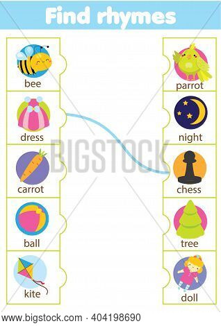 Matching Rhyming Words Game. Educational Children Activity. Learning Rhyme For Pre Scholl Years Kids