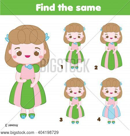 Children Educational Game. Find Same Pictures. Find Two Identical Girls. Princess Theme Fun For Kids