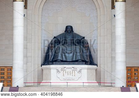 Ulan Bator, Mongolia - July 31 2018: Monument To Genghis Khan At The Government Palace On Sukhbaatar