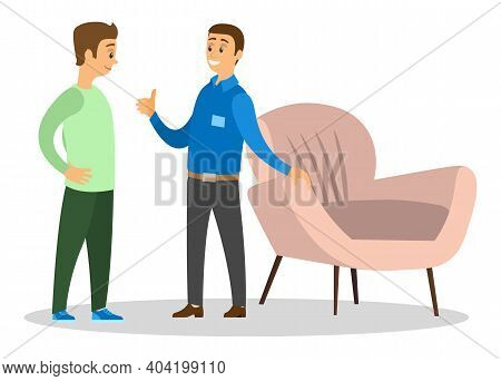 A Man Smiling Shopper In Furniture Shop, Shopping For House, Chooses A Comfortable Chair. Profession