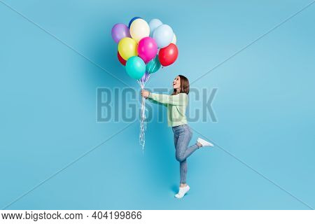 Full Length Body Size Side Profile Photo Of Cheerful Happy Girl Looking Up Standing Tiptoe Keeping B