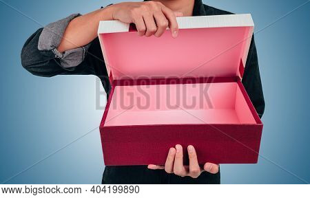 Christmas, Valentine, Holidays Gift Box Concept. Couple Surprise Gift Box.