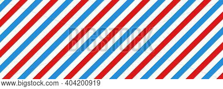 Barber Shop Concept Pattern. Barbershop Background. Vector Red, White And Blue Diagonal Lines Seamle