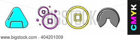 Set Sushi, Chinese Yuan Currency, Chinese Yuan Currency And Chinese Fortune Cookie Icon. Vector