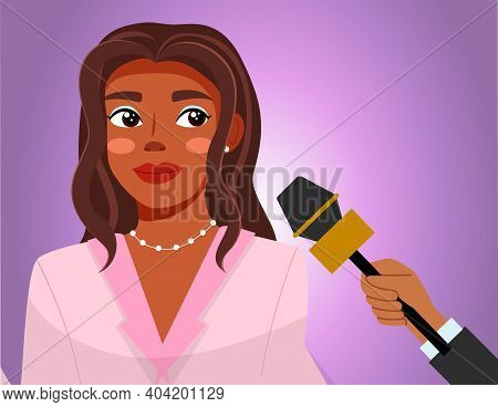 Press Conference With Woman. Journalist With Microphone Interviews A Famous Afro American Girl. Soci
