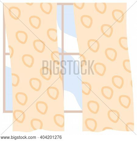 Illustration Of Living Room Window With Yellow Curtains Fluttering In The Wind With Blue Sky On The