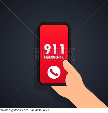 Call 911 Icon. Emergency Call Concept. Hand Holding Smartphone, Finger Touching Call Button Call 911