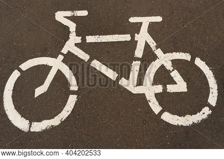 Drawing A Bike. Bike Sign. Bicycle Sign On The Asphalt. Designation Of A Bicycle Path.
