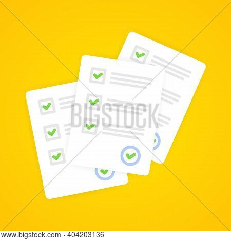Survey Or Exam Form Paper Sheets Pile With Answer Checklist Quiz And Evaluation Of Success Results.