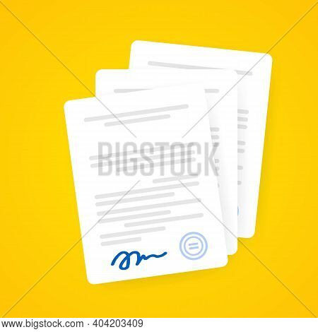 Document Icon. Paper Documents With Signature And Text, Contract Idea. Confirmed Or Approved Documen