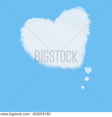 Flat Art Illustration Abstract Background. Cloud Love Heart Idea Box On Blue Sky Background. Valenti