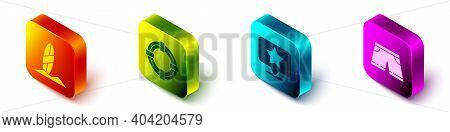Set Isometric Surfboard, Lifebuoy, Map Pointer With Star And Swimming Trunks Icon. Vector