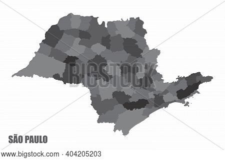 The Sao Paulo State Grayscale Regions Map Isolated On White Background, Brazil